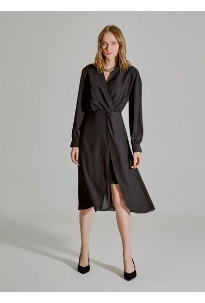 People By Fabrika Kadın Burgu Detaylı Elbise