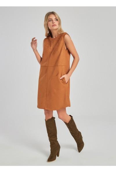 People By Fabrika Kadın Süet Elbise