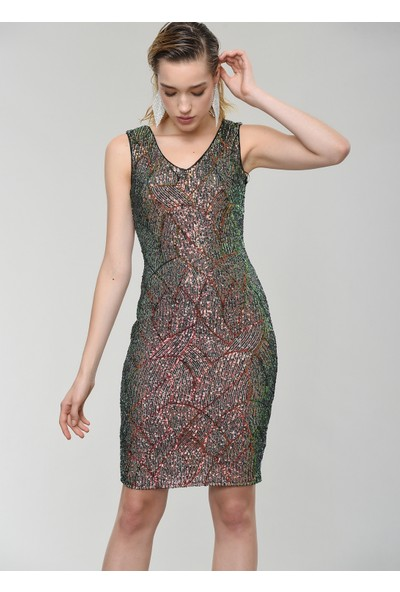People By Fabrika Kadın Desenli Payet Mini Elbise