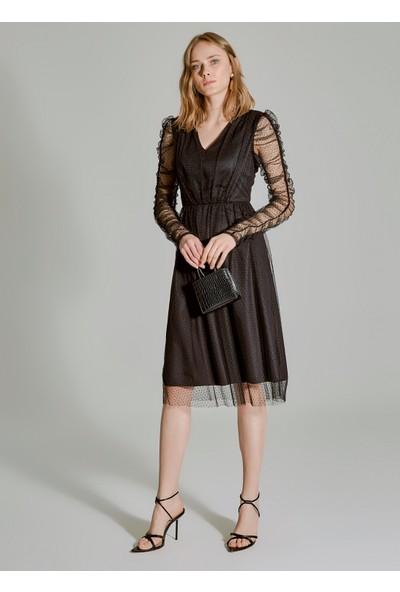 People By Fabrika Kadın Kolu Büzgülü Tül Elbise
