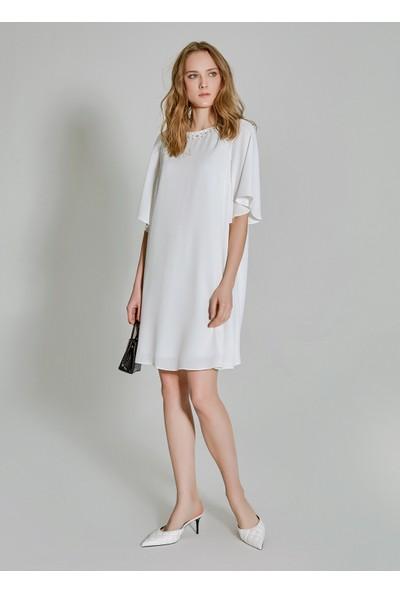 People By Fabrika Kadın Yakası Taşlı Elbise