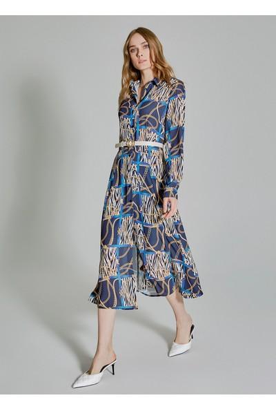 People By Fabrika Kadın Desenli Gömlek Elbise