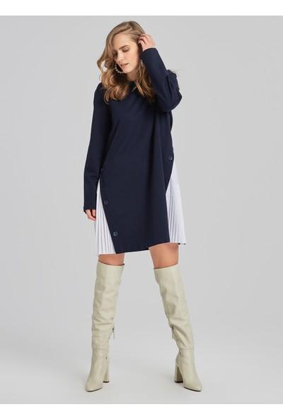 People By Fabrika Kadın Pilise Detaylı Sweat Elbise