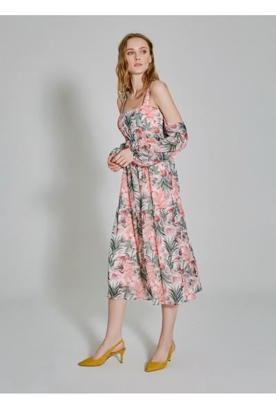 People By Fabrika Kadın Kol Detaylı Desenli Elbise
