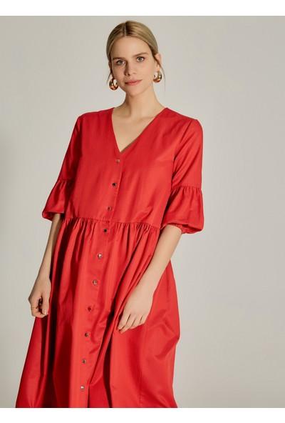 Ngstyle Kadın Balon Kollu Midi Poplin Elbise