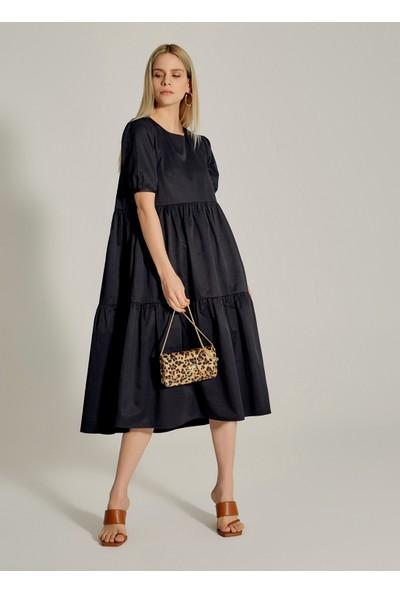 Ngstyle Kadın Büzgülü Midi Poplin Elbise