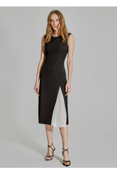 People By Fabrika Kadın Kontrast Detaylı Elbise