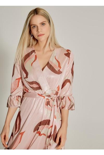 Ngstyle Kadın Simli Volanlı Kruvaze Elbise