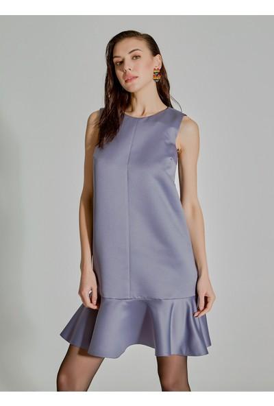 People By Fabrika Kadın Volanlı Saten Elbise