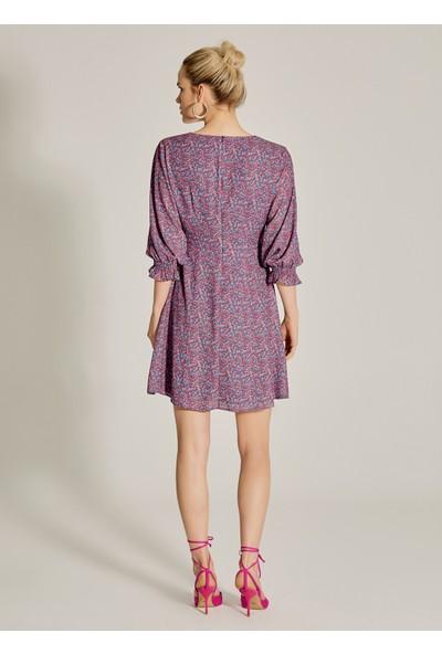 Ngstyle Kadın Çiçek Desenli V Yakalı Elbise