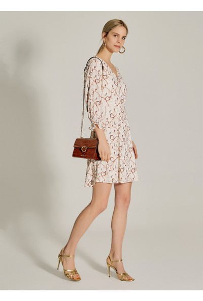 Ngstyle Kadın Desenli V Yaka Mini Elbise