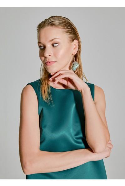 People By Fabrika Kadın Organze Detaylı Saten Elbise