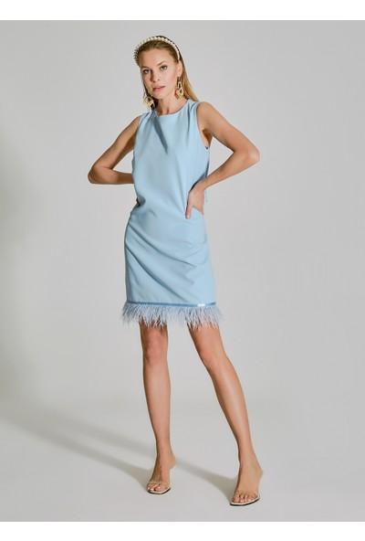 People By Fabrika Kadın Tüy Detaylı Elbise