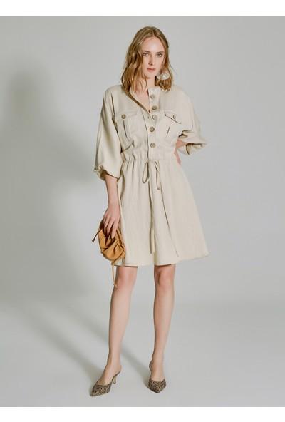 People By Fabrika Kadın Cep Detaylı Dökümlü Elbise
