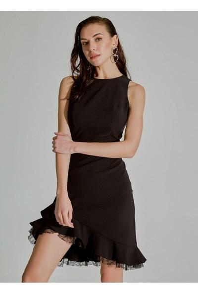 People By Fabrika Kadın Volanlı Dantel Detaylı Elbise