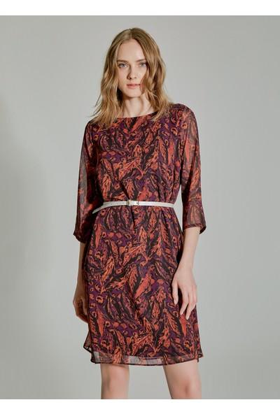 People By Fabrika Kadın Desenli Truvakar Kollu Elbise
