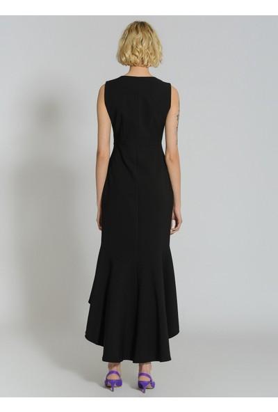 People By Fabrika Kadın Taşlı Düğmeli Volanlı Elbise
