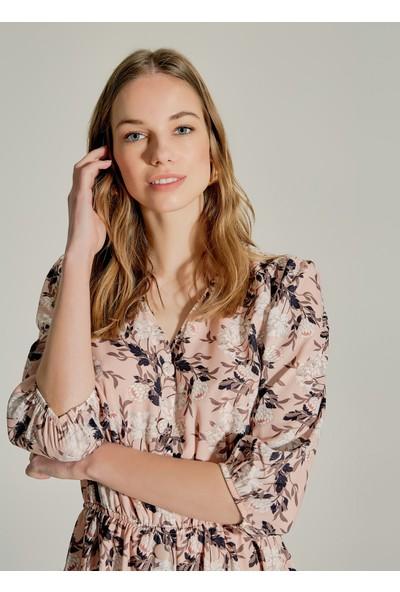 Ngstyle Kadın Çiçek Desenli Düğmeli Elbise