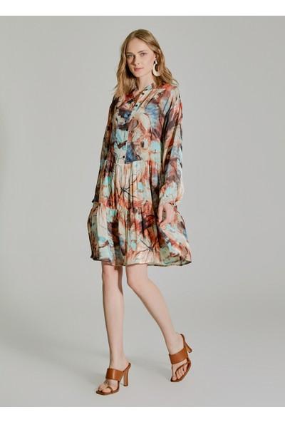 People By Fabrika Kadın Desenli Düğmeli Elbise