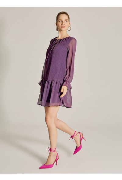 Ngstyle Kadın Desenli Volanlı Elbise
