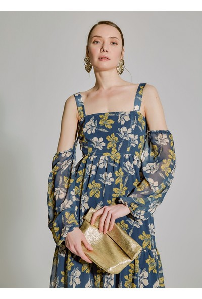 People By Fabrika Kadın Desenli Kol Detaylı Elbise