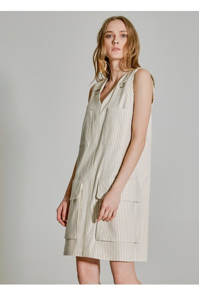 People By Fabrika Kadın Cep Detaylı Keten Elbise
