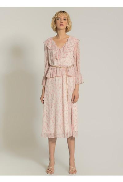 Ngstyle Kadın Volan Detaylı Desenli Midi Elbise
