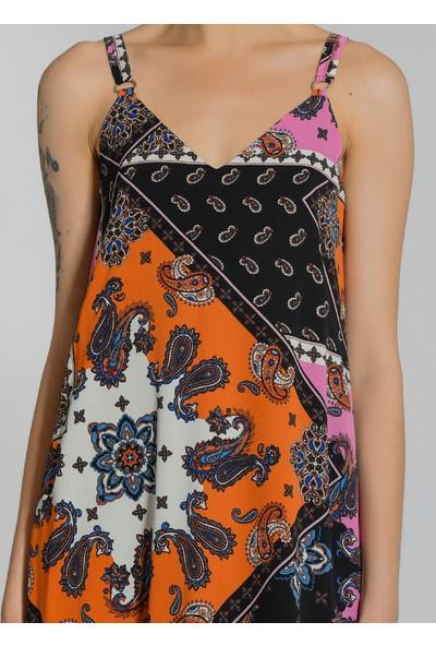 People By Fabrika Kadın Askılı Desenli Elbise