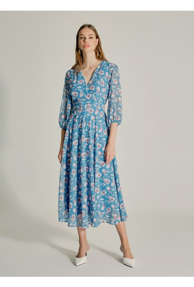 Ngstyle Kadın Kruvaze Yakalı Desenli Elbise