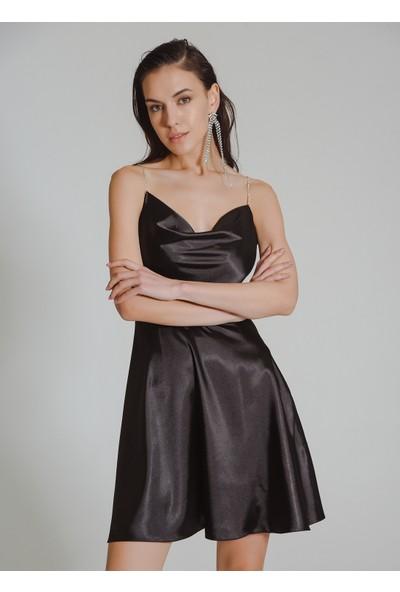People By Fabrika Kadın Taşlı Şeritli Saten Elbise