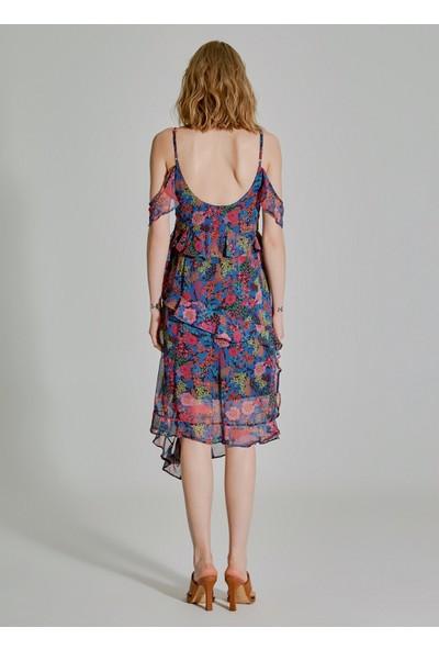 People By Fabrika Kadın Desenli Volanlı Kol Detaylı Elbise