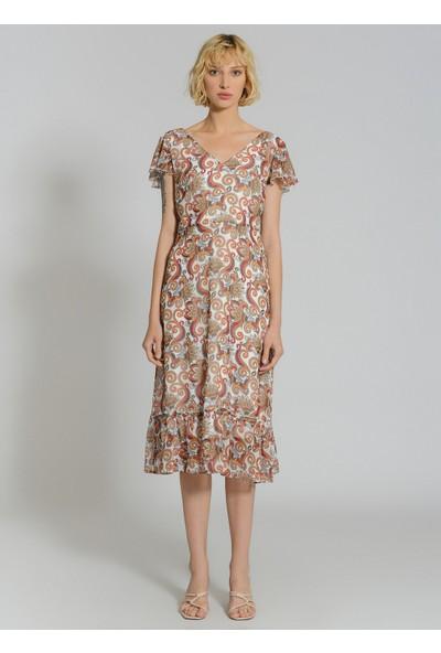 People By Fabrika Kadın Desenli Melek Kol Elbise