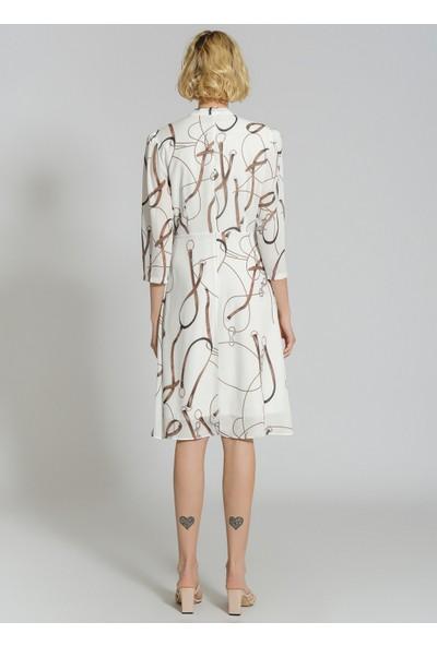People By Fabrika Kadın Desenli Yakası Bağlama Detaylı Elbise