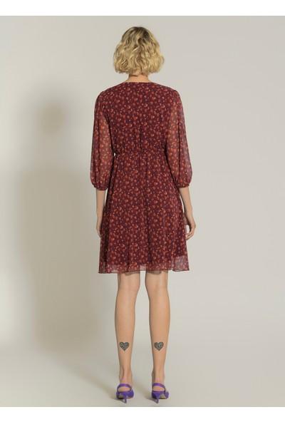 Ngstyle Kadın Desenli Beli Lastikli Elbise
