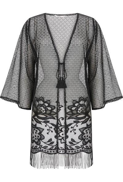 Penti Siyah Lace Kimono