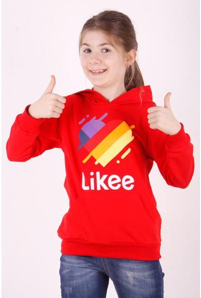 Toontoy Kız Çocuk Renkli Kalp Baskılı Kapüşonlu Sweatshirt