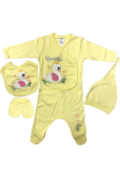 Akyüz Bebe AY076 Kuğu Desenli 5li Set Sarı