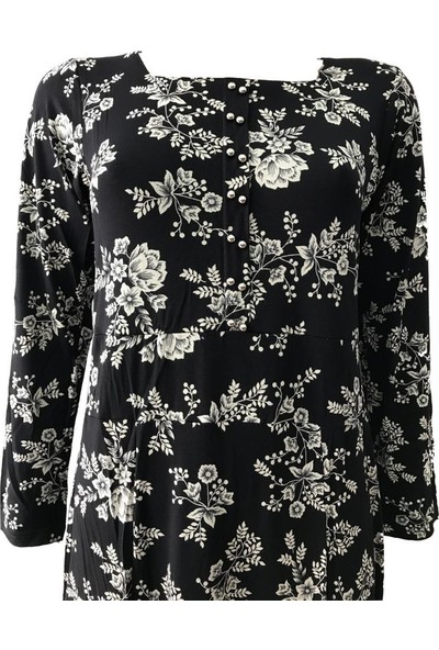 Hazal Viskon Elbise Kare Yaka Yaprak Desen Siyah