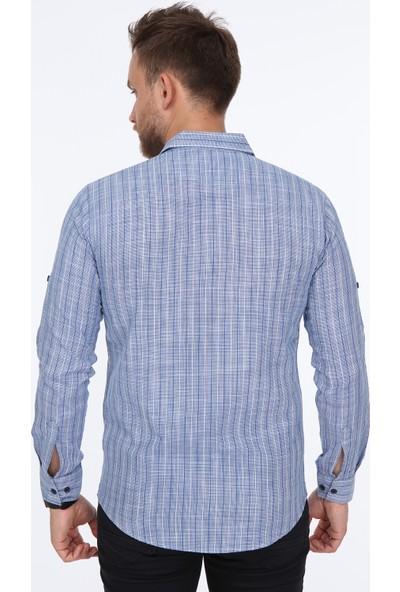 Pointback 5230 Lacivert Pitikare Çizgili Gömlek