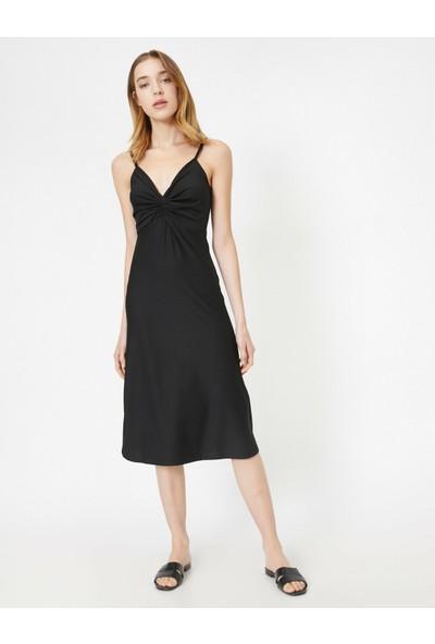 Koton Kadın Askılı Büzgülü Midi Elbise
