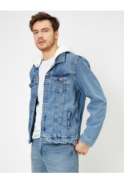 Koton Erkek Çikarilabilir Kapüşonlu Dügmeli Jean Ceket