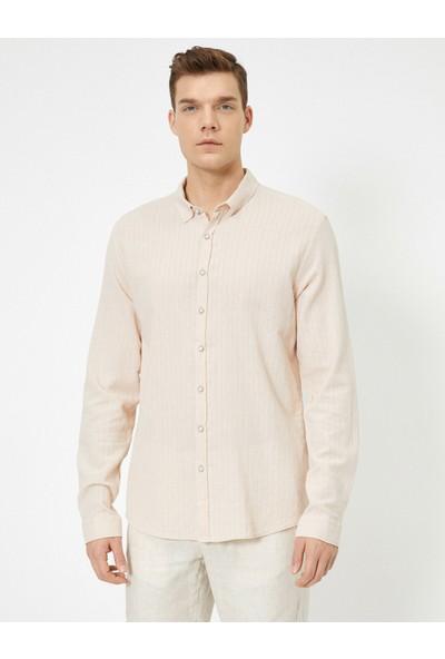 Koton Erkek Çizgili Dokulu Kumas Regular Fit Casual Gömlek