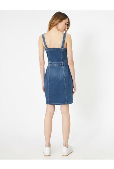 Koton Kadın Dügme Detaylı Askılı Cep Detaylı Midi Jean Elbise