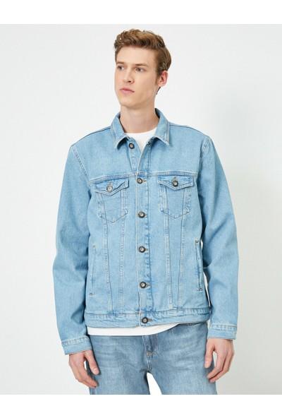 Koton Erkek Dügmeli Cep Detaylı Jean Ceket