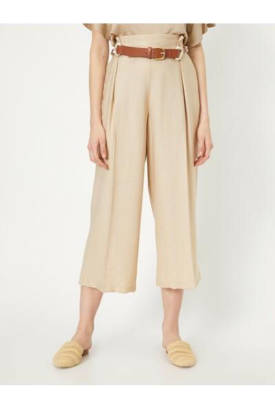 Koton Kadın Kemer Detaylı Cullotte Pantolon
