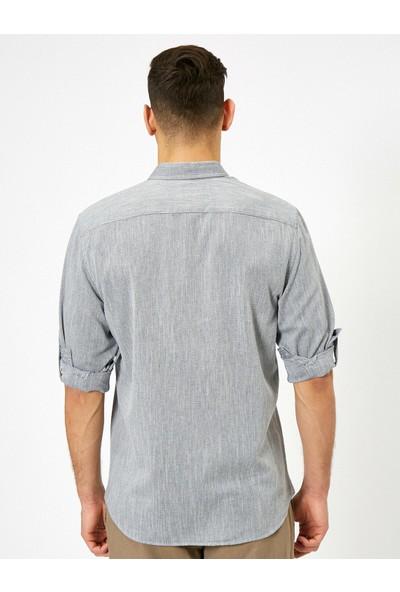 Koton Erkek Klasik Yaka Dokulu Kumas Regular Fit Casual Gömlek