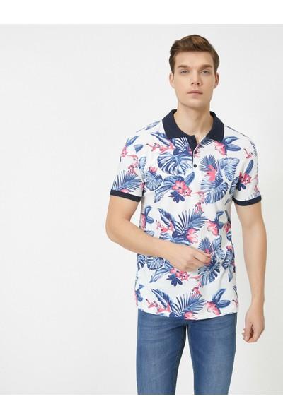 Koton Erkek Polo Yaka Desenli Kısa Kol T-Shirt