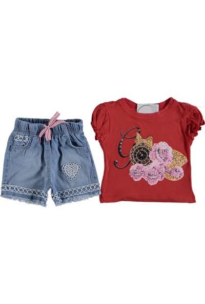 Kidsmadamiko Kız Çocuk Saat ve Gül Baskılı Ikili Yazlık Takım 299229