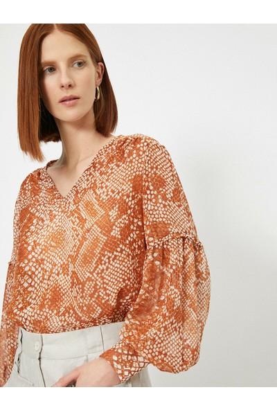 Koton Kadın Uzun Kollu Yilan Derisi Desenli Bluz