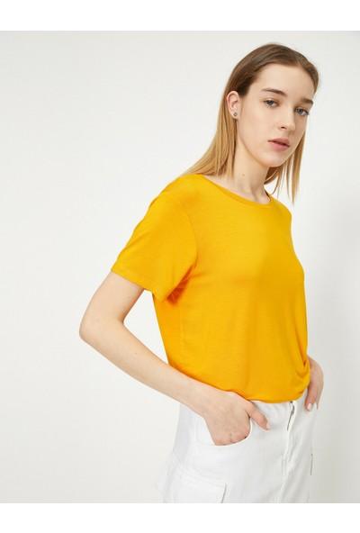 Koton Kadın Yirtmaç Detaylı Bol Kesim T-Shirt